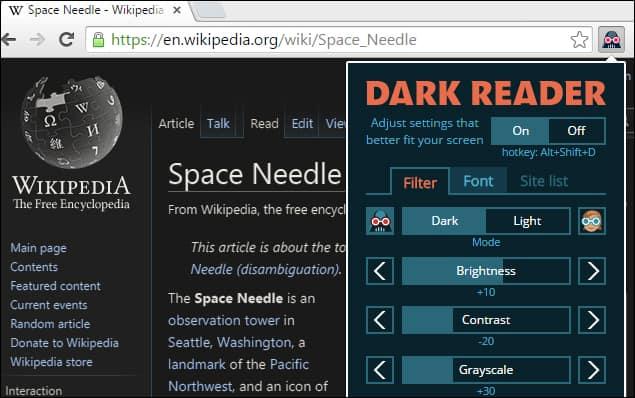 Dark Reader Chrome Extension for Night Mode