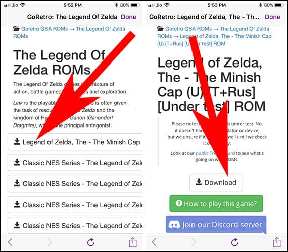 Download Retro Games Using GBA4iOS app on iPhone