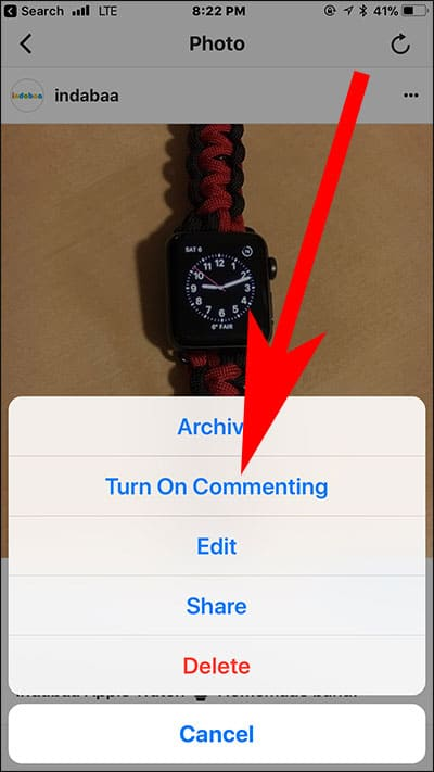 Enable Comments in Instagram Post on iPhone and Android