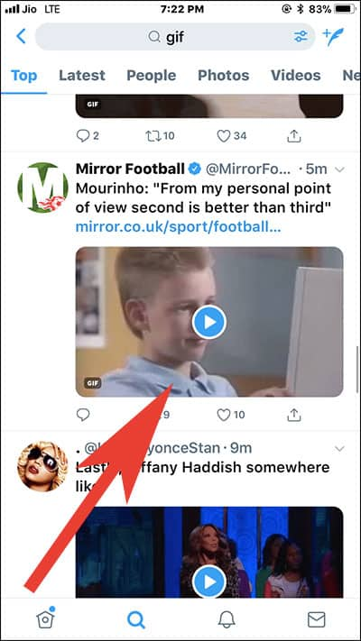 Open Gif in Twitter you want to download on iPhone and iPad