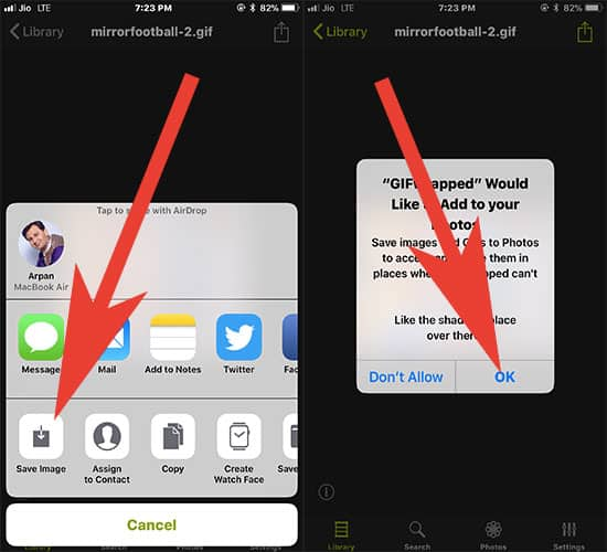 Save Animated Gifs from twitter to iPhone Camera Roll