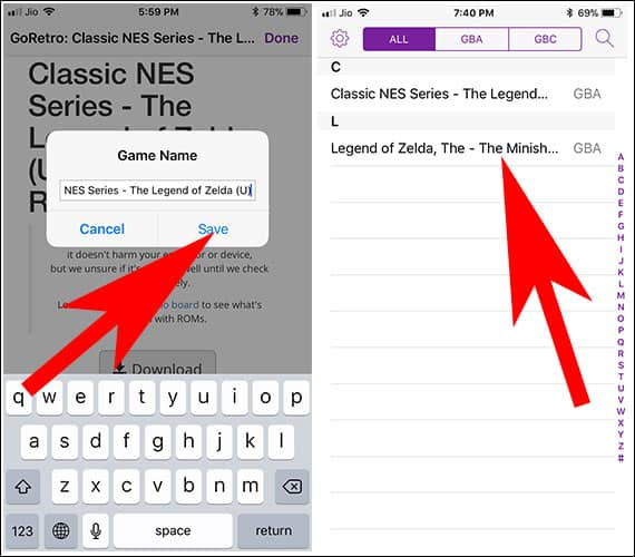 Save a Retro Game in GBA4iOS app on iPhone