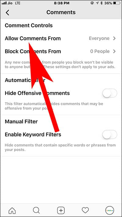 Tap on Allow comments from in Instagram on iPhone and Android