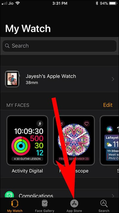 Tap on App Store in Watch App on iPhone