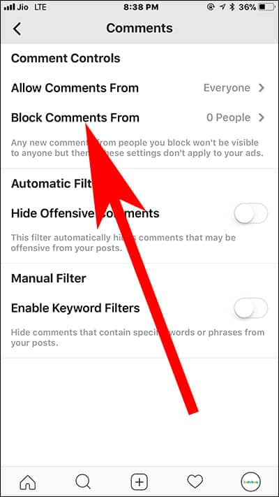 Tap on Block Comments from in Instagram on iPhone and Android