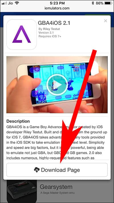 Tap on Download Page GBA4iOS 2.1 on iPhone