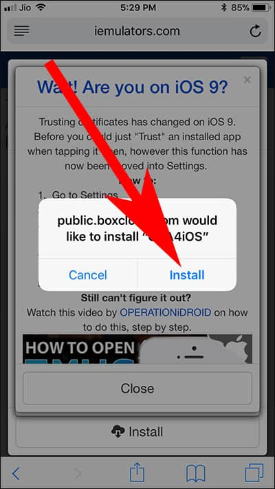 Tap on Install to Start Installing GBA4iOS 2.1 on iPhone