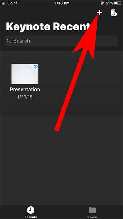 Tap on Plus icon to create new Keynote Presentation on iPhone or iPad