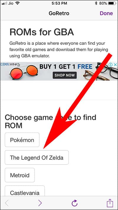 Tap on Rom of Games on GBA4iOS app on iPhone