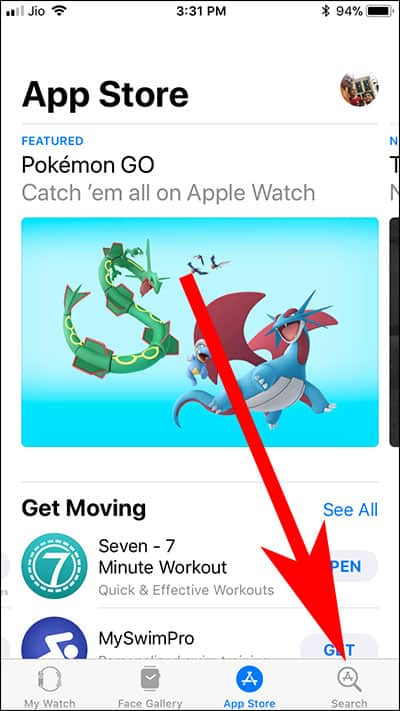 Tap on Search button in Apple Watch Store on iPhone