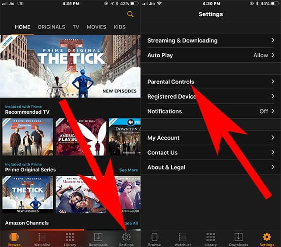 Tap on Settings and then Tap on Parental Controls in Amazon Prime Video App on iPhone
