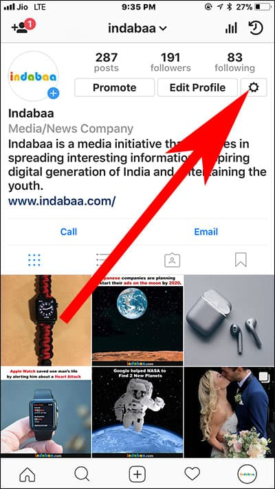 Tap on Settings in Instagram on iPhone  - Tap on Settings in Instagram on iPhone - How to Hide Inappropriate Comments in Instagram on iPhone and iPad