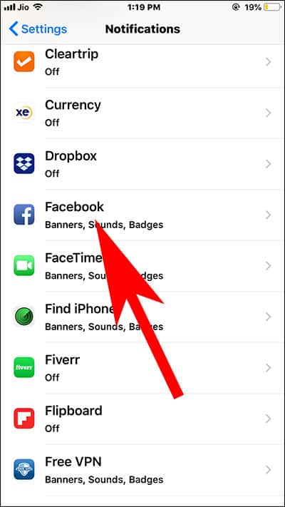 Choose App for Disabling Notification Grouping in iOS 12 on iPhone and iPad