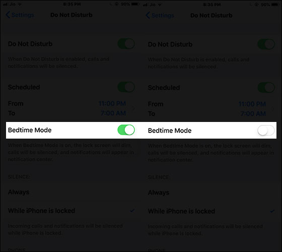 Disable Bedtime in iOS 12 on iPhone or iPad