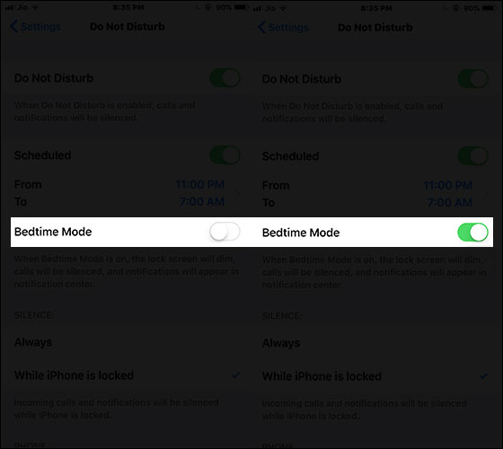 Enable Bedtime in iOS 12 on iPhone or iPad