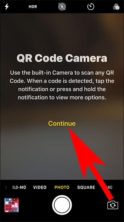 Tap on Continue in Camera App on iPhone or iPad
