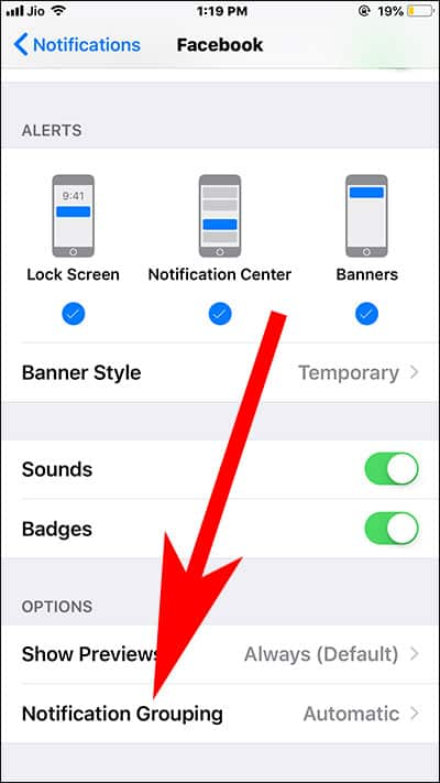 Tap on Notification Grouping in Settings on iPhone or iPad