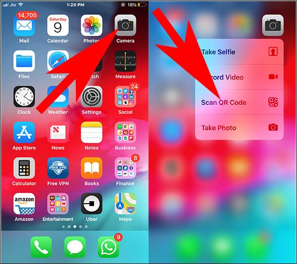 Use 3D Touch to Scan QR Code on iPhone
