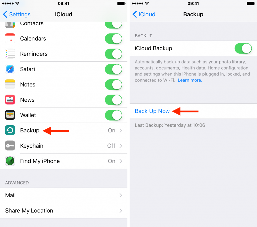 How to perform iCloud backup